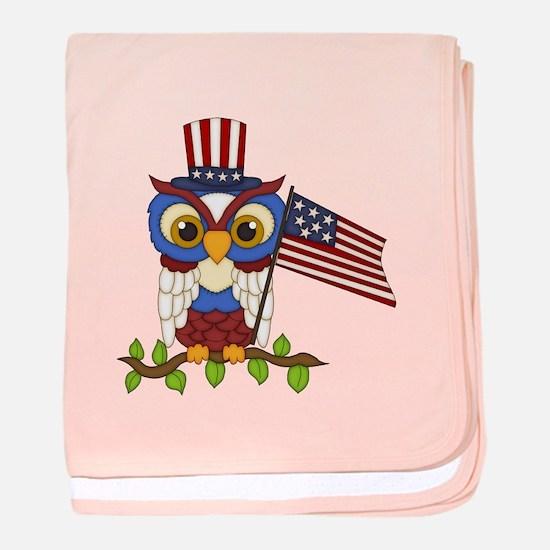 Patriotic Owl baby blanket