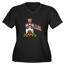 Patriotic Ow Women's Plus Size V-Neck Dark T-Shirt