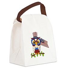 Patriotic Owl Canvas Lunch Bag