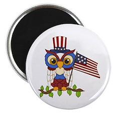 "Patriotic Owl 2.25"" Magnet (10 pack)"