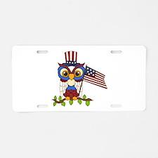 Patriotic Owl Aluminum License Plate