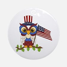 Patriotic Owl Ornament (Round)