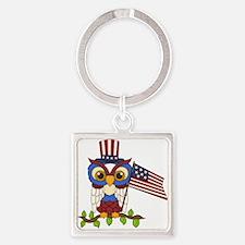 Patriotic Owl Square Keychain