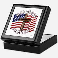God Bless America With USA Flag and Cross Keepsake