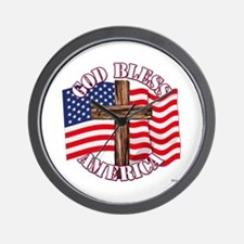 God Bless America With USA Flag and Cross Wall Clo
