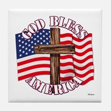 God Bless America With USA Flag and Cross Tile Coa