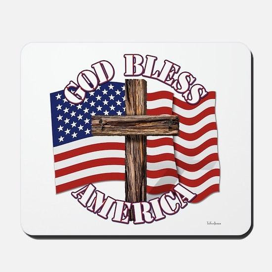 God Bless America With USA Flag and Cross Mousepad