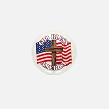 God Bless America With USA Flag and Cross Mini But