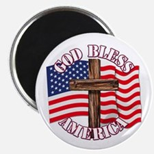 God Bless America With USA Flag and Cross Magnets