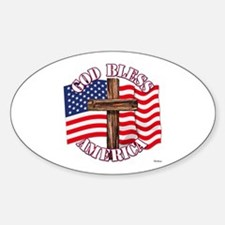 God Bless America With USA Flag and Cross Decal