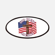 God Bless America With Usa Flag And Cross Patches