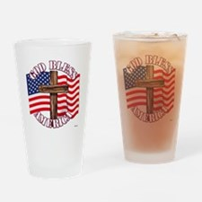God Bless America With USA Flag and Cross Drinking