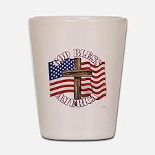 God Bless America With USA Flag and Cross Shot Gla