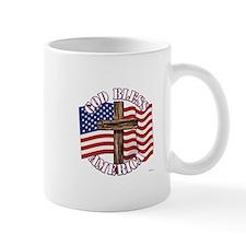 God Bless America With USA Flag and Cross Mugs