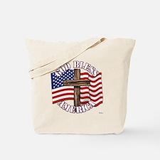 God Bless America With USA Flag and Cross Tote Bag