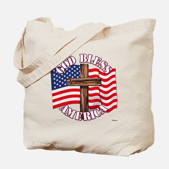 God Bless America With USA Flag and Cross Tote Bag