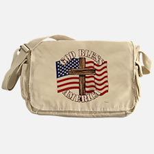 God Bless America With USA Flag and Cross Messenge