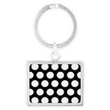 #Black And White Polka Dots Keychains