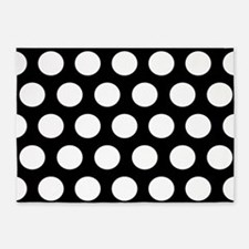 #Black And White Polka Dots 5'x7'Area Rug