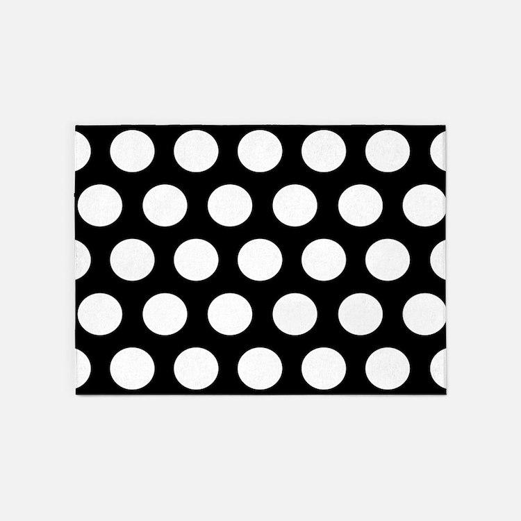 #Black And White Polka Dots 5'x7'Area Rug