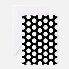 #Black And White Polka Dots Greeting Cards