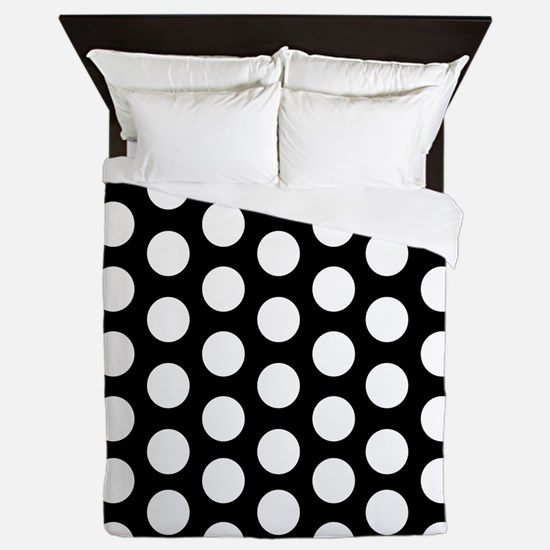 #Black And White Polka Dots Queen Duvet
