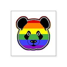 """panda head pride Square Sticker 3"""" x 3"""""""