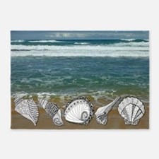 Seashell Beach Art 5'x7'Area Rug