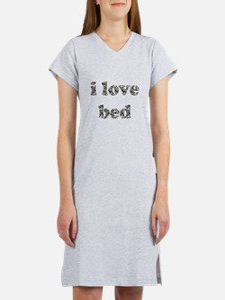 I Love Bed (zebra striped font) Women's Nightshirt