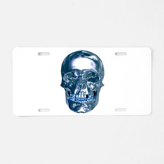 Blue Chrome Skull Aluminum License Plate