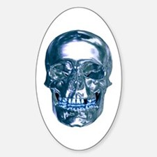 Blue Chrome Skull Decal