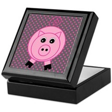 Pink Pig on Gray Keepsake Box