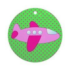 Hot Green and Pink Airplane Ornament (Round)
