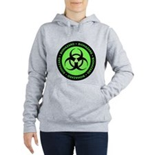 Green Biohazard Warning Women's Hooded Sweatshirt