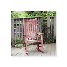 "Red Rocking Chair Square Sticker 3"" x 3"""
