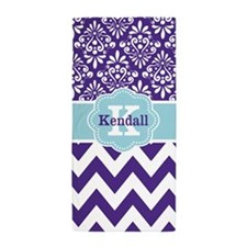 Blue Purple Damask Chevron Personalized Beach Towe