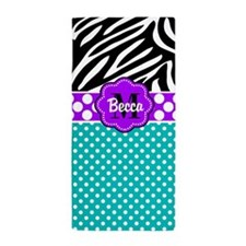 Purple Teal Black Dots Zebra Personalized Beach To