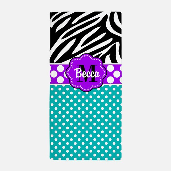 Purple Teal Black Dots Zebra Personalized Beach To