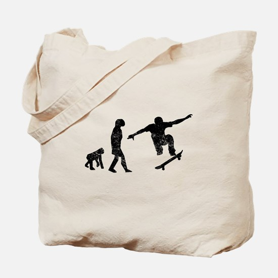 Distressed Skateboarding Evolution Tote Bag