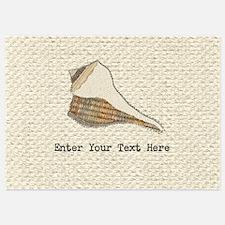 Unique Seashell Art Fabric Collage Invitations