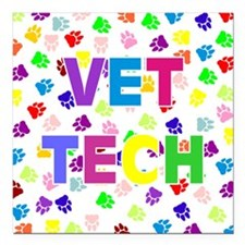 "Vet Tech W/Paws Square Car Magnet 3"" x 3"""