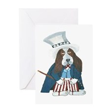 BBasset Hound Uncle Sam Greeting Cards