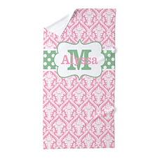 Pink Green Damask Dots Personalized Beach Towel