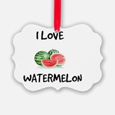 I Love Watermelon Picture Ornament