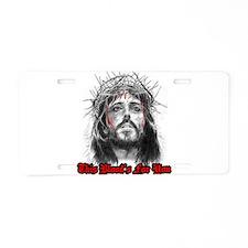 Unique Cross and crown Aluminum License Plate