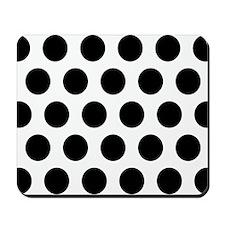 #White And Black Polka Dots Mousepad