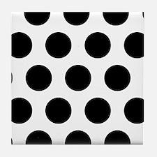 #White And Black Polka Dots Tile Coaster