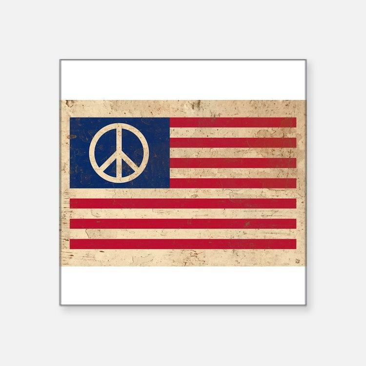 "Cute Peace flag Square Sticker 3"" x 3"""