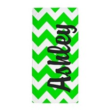 Monogram Name Neon Green Chevron Beach Towel
