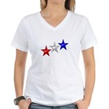 Red white and blue Womens V-Neck T-shirts